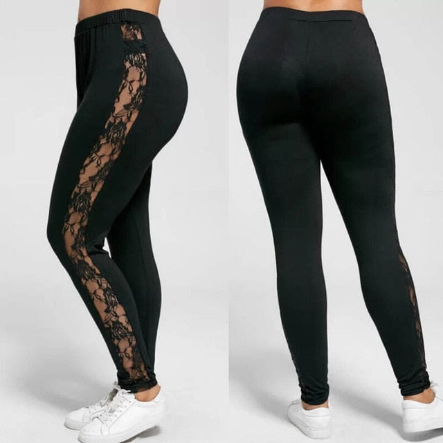 Plus Size Sexy Women Holllow Out Lace Leggings Sexy High Waist Bandage Pants Insert Sheer Leggings Viscose Elastane-geekbuyig