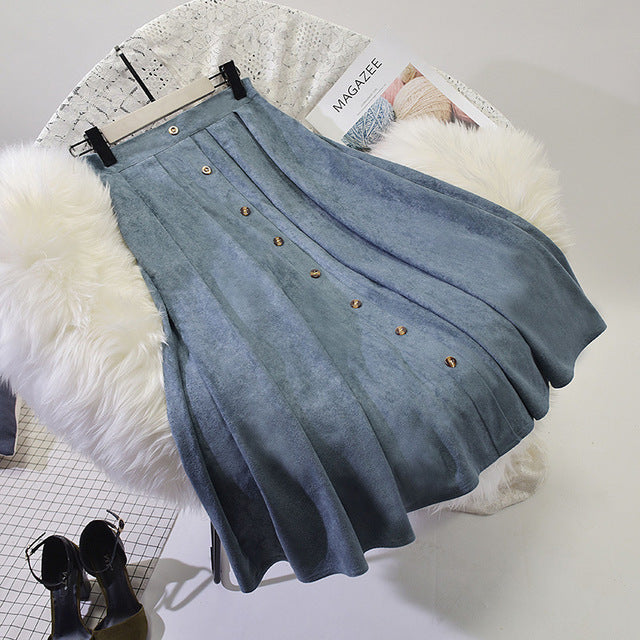 Sherhure 2018 High Quality Women Suede Skirt Long Pleated Skirts Womens Saias Midi Faldas Vintage High Waist Women Midi Skirt-geekbuyig