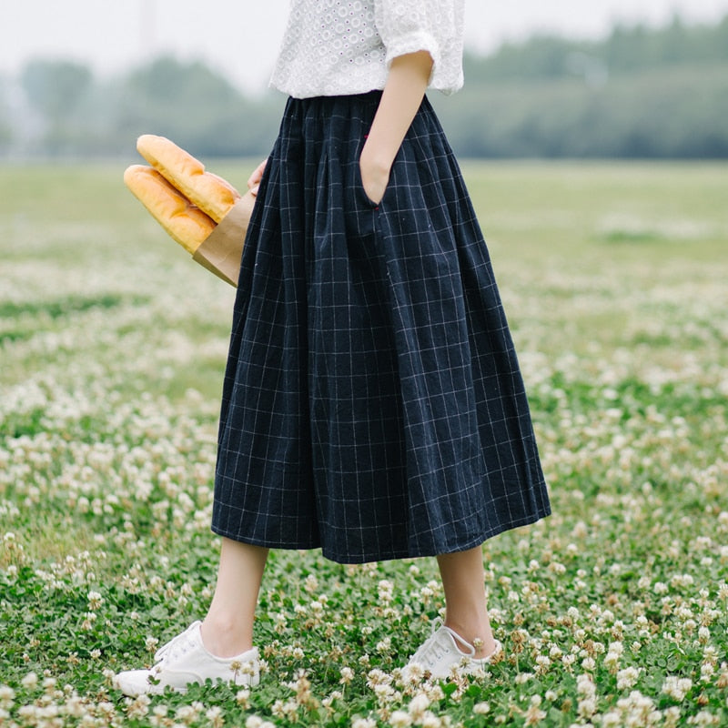 Retro plaid pocket Elastic waist pocket loose A-Line skirt mori girl 2018 spring-geekbuyig