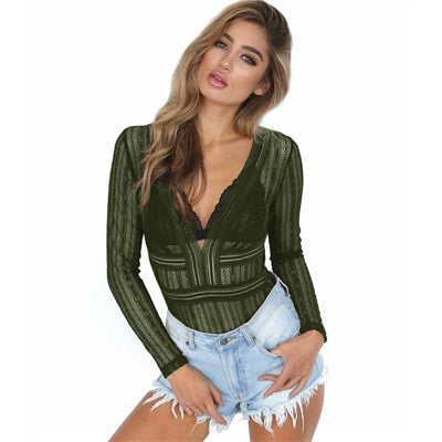 Open back hollow out bodysuits Women long sleeve slim fit bodysuit Sexy v neck blouse romper 2018 Summer fashion femme lace tops-geekbuyig