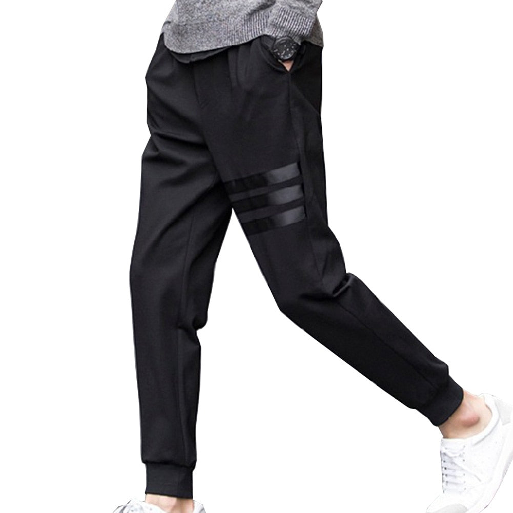 Pencil Feet Pants Fit Mens Casual Pants Spring Breathable Pants Skinny Pencil Pants Men Slim Straight Elastic Trousers Striped-geekbuyig