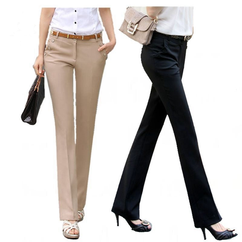 Plus Size Trousers Women Pants 2018 Spring Summer Casual OL Formal Harem Pants Women Office Dress Pants Flare Trousers-geekbuyig