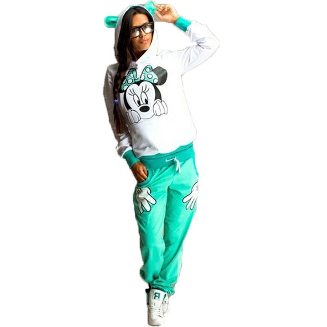 2018 New Mickey Costume Cute Casual Hooded Sweatshirts+Long Pants Sexy Female 2 Piece Set Suit Tracksuits For Woman Brand-geekbuyig