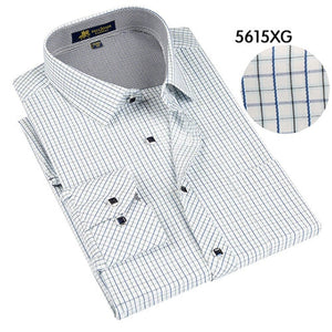 2018 Spring Classic style Plaid shirt for male silk and cotton fabric long sleeve slim fit non-iron causal men's shirts-geekbuyig