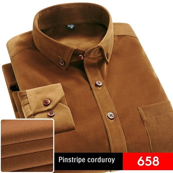 Spring/Autumn Men Shirt High Quality Corduroy Long Sleeve Solid Comfort Soft Casual Brand Clothes Man Shirt Camisa Plus Size 4XL-geekbuyig
