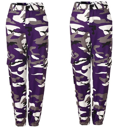 Womens Camo Cargo Trousers Casual Pants Military Army Combat Camouflage Jeans Jeans High Waist Trouser-geekbuyig