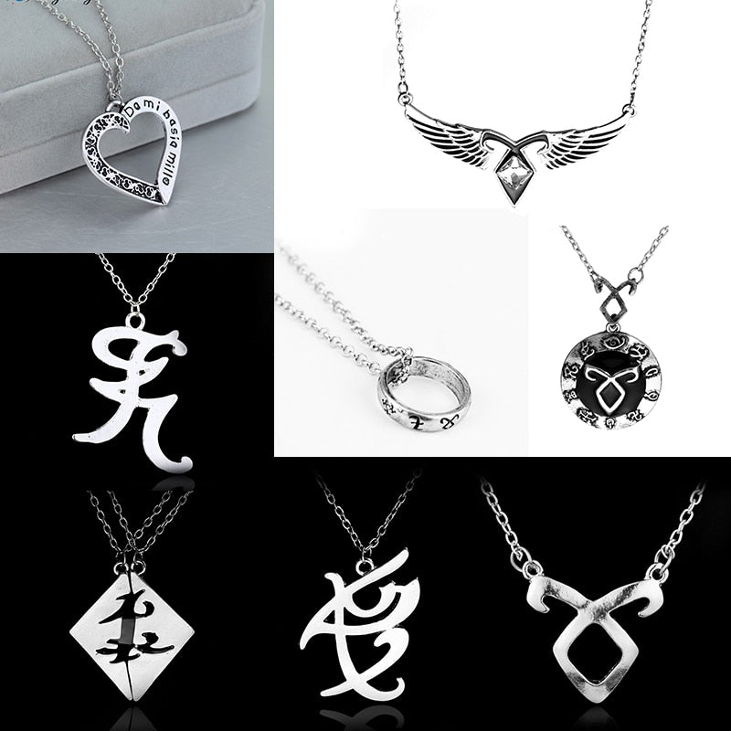 dongsheng The Mortal Instruments City of Bones necklace vintage Angelic Power Runes Shadowhunters pendant men and women Gift -30-geekbuyig