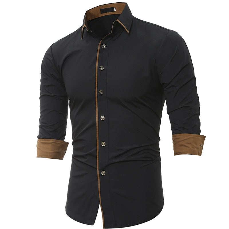 Men Shirt Brand 2018 Male High Quality Long Sleeve Shirt Caueal Solid color Slim Fit Black Man Dress Shirts camisa masculina 3XL-geekbuyig