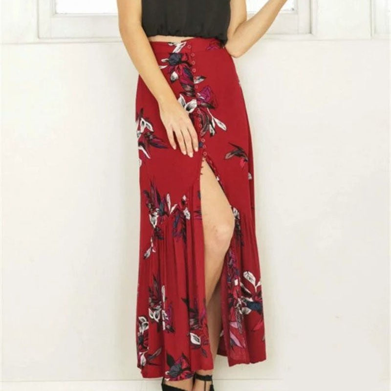 New summer women vintage elegant floral print long skirts beach party high waist asymmetrical split maxi skirt-geekbuyig