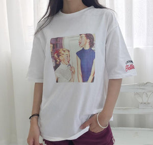 2018 spring and summer new retro printing T-shirt women loose short-sleeved-geekbuyig