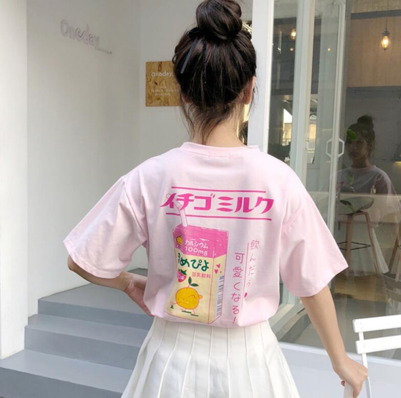 2018 new Strawberry Milk Printed loose short-sleeved t-shirt female-geekbuyig