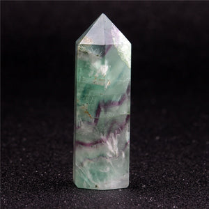 Natural 75*20mm Fluorite Green Clear Crystal Healing Wand Point Carving Scepter Cherry Quartz Reiki Stone Carved Free Pouch-geekbuyig