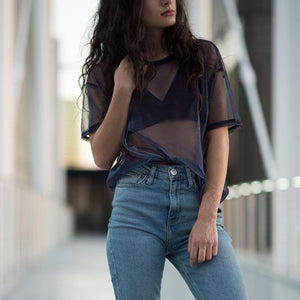 2018 Mesh Tee See-Through Women T-shirts Short Sleeve Perspective Shine Casual Women Tops Lady Vintage Blusa dropship Feb23-geekbuyig
