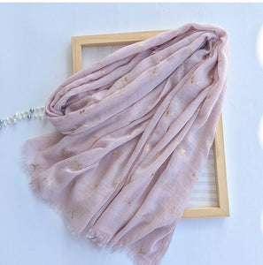 Marte&Joven Deer Bronzing Scarf for Women Fashion Spring Autumn Large Size Luxury Shawl Hijab Warm Fringed Scarves Stoles Female-geekbuyig