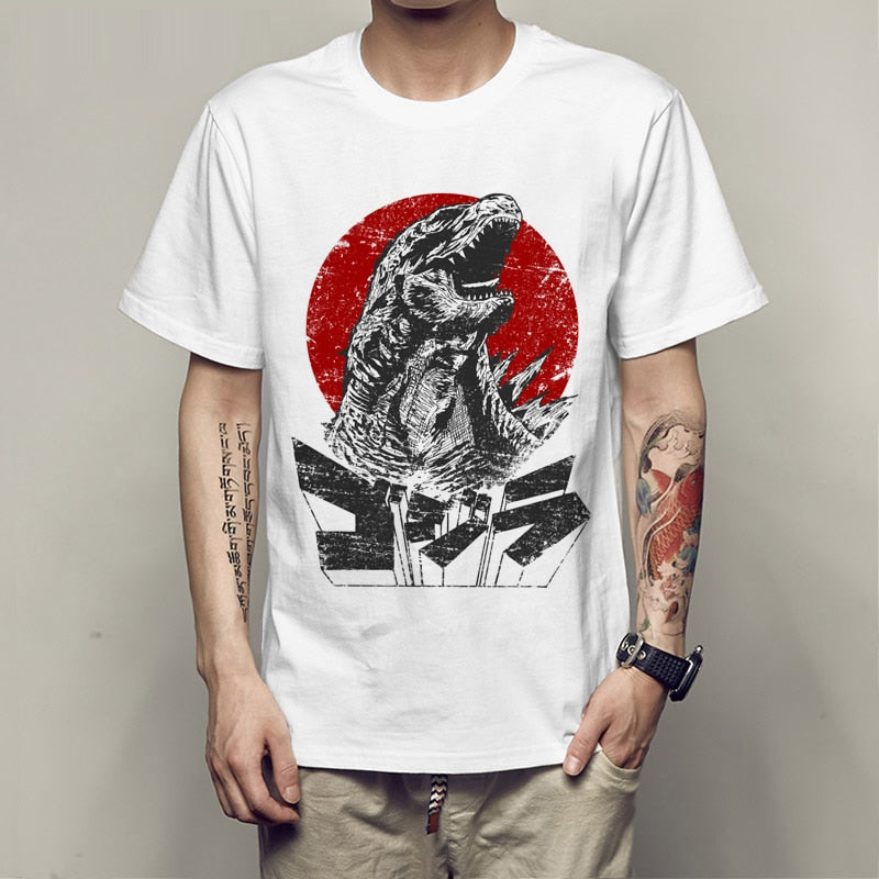 print Godzilla Smashing City 2 T-shirt novelty men short sleeve cute cartoon tee shirt boy tops wholesale anime man t shirt-geekbuyig