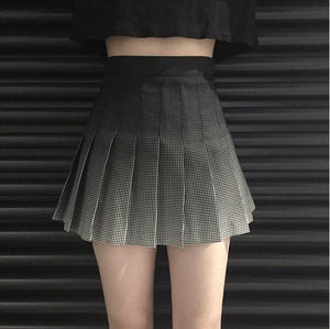 Spring and summer Korean retro A-line skirt plaid high waist-geekbuyig