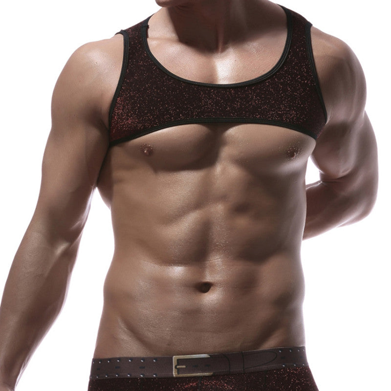 Fashion Brand Man Sexy Designer Fitness Crop Tank Tops Gay Male Funny Compression Half muscle stretch Vest Size S M L XL-geekbuyig