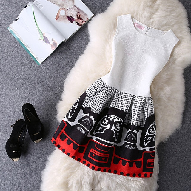 Women Summer Dress 2018 Brand New Young College Style Casual Dresses Vestido De Festa Ladies Vintage Print Plus Size Clothing-geekbuyig