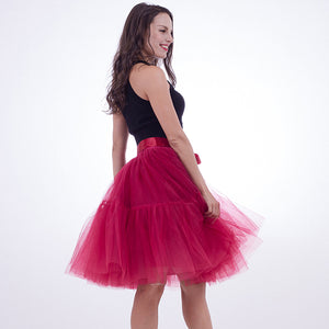 Petticoat 5 Layers 60cm Tutu Tulle Skirt Vintage Midi Pleated Skirts Womens Lolita Bridesmaid Wedding faldas Mujer saias jupe-geekbuyig