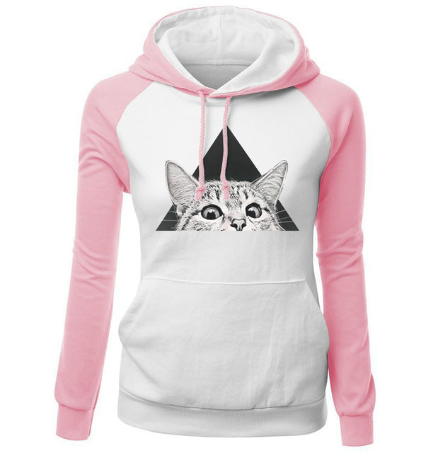 Women's Hoodies 2018 New Fashion Sweatshirt For Female Brand Hoody Print Triangle Cat Hip Hop Streetwear Sweatshirts Kpop Hoodie-geekbuyig