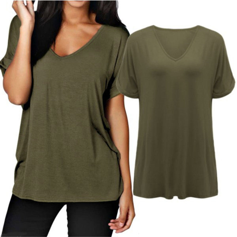 ZANZEA 2018 Women Summer Plus Size Short Rolled Sleeve T Shirt Sexy V Neck Loose Plain Tops Tees camisetas mujer S-3XL T-Shirts-geekbuyig