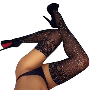 Women Sexy Stockings Female Pantyhose Fishnet Thigh High Socks Over Knee Socks Femal Stockings Rhinestone Hosiery Meias SW119-geekbuyig