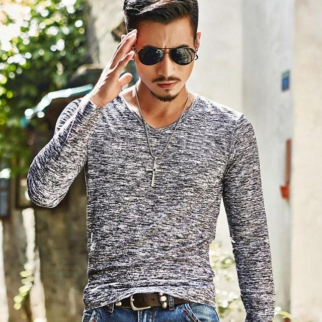 Hot 2018 New Arrival Spring Autumn Fashion Brand V-Neck Slim Fit Long Sleeve TShirt Men Trend Casual Men T-Shirt Korean T Shirts-geekbuyig