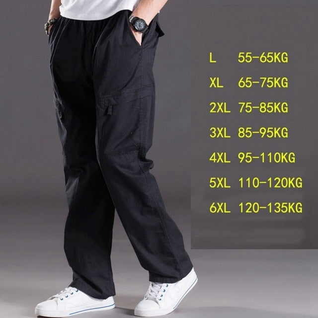 Thin summer casual pants male big size 6XL Multi Pocket Jeans oversize Pants overalls elastic waist pants plus size men-geekbuyig