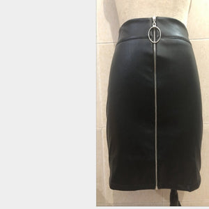 New 2018 Fashion Women's Ladies Casual PU Leather High Waist A-Line Bodycon Zippers Mini Short Skirt-geekbuyig
