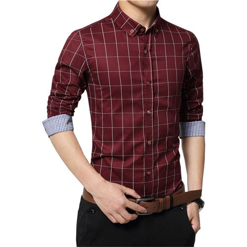 Plus Size 4XL 5XL 2018 Men's Plaid 100% Cotton Dress Shirts Male Long Sleeve Slim Fit Business Casual Shirts Free Shipping-geekbuyig