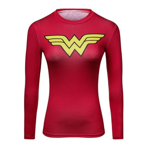 Ladies Film Marvel Superman batman Wonder Women's Compression Shirts Girl's Long sleeve T Shirt Female Fitness Tights Shirts-geekbuyig