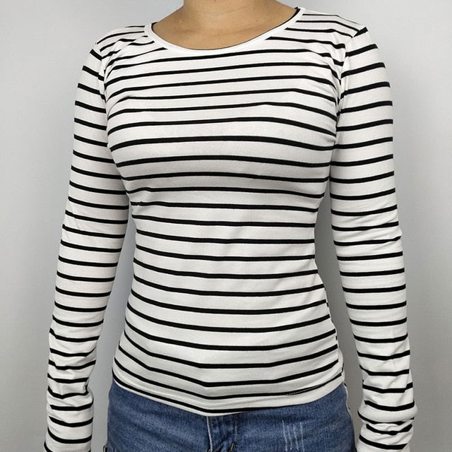 Fashion new style women tops tees O-neck cotton t shirt 2018 Spring winter autumn long sleeve striped sexy female casual tshirt-geekbuyig