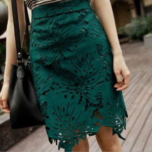 2018 Womens Summer New Leaves Embroidery Lace Skirt Pencil Skirts Office Ladies High Waist Knee Length Vintage Midi Skirt S6269-geekbuyig