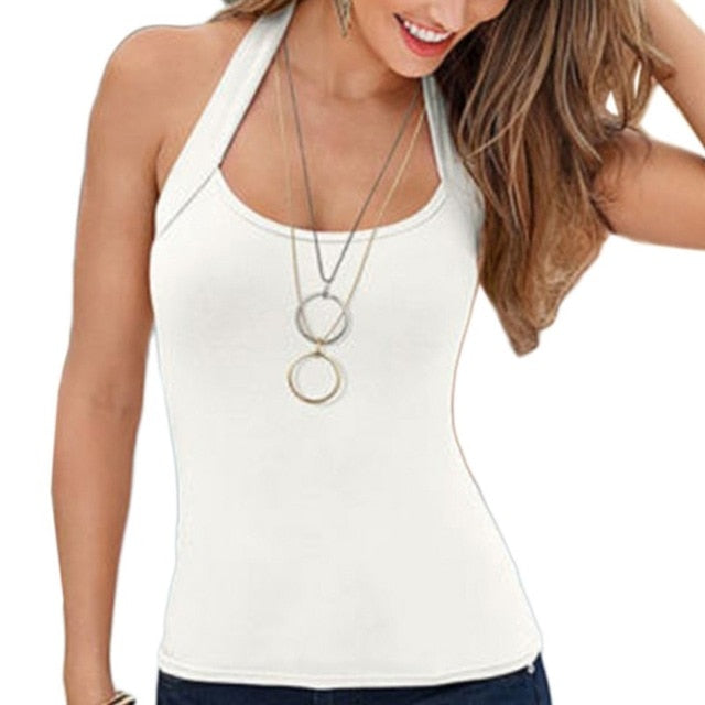 Women Fashion Summer Sexy Vest Top Sleeveless Backless Tank Tops-geekbuyig