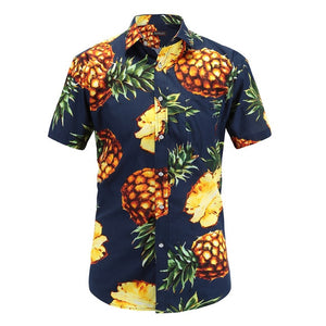 2018 Fashion Regular Fit Mens Cotton Short Sleeve Hawaiian Shirt Summer Casual Floral Shirts Men Plus Size S-3XL Vacation Tops-geekbuyig