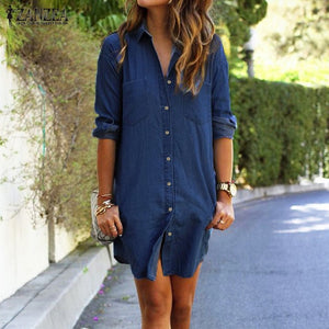 ZANZEA Women Mini Dress 2018 Autumn Casual Loose Long Sleeve Button Shirt Dresses Denim Vestidos Long Tops Plus Size S-5XL-geekbuyig