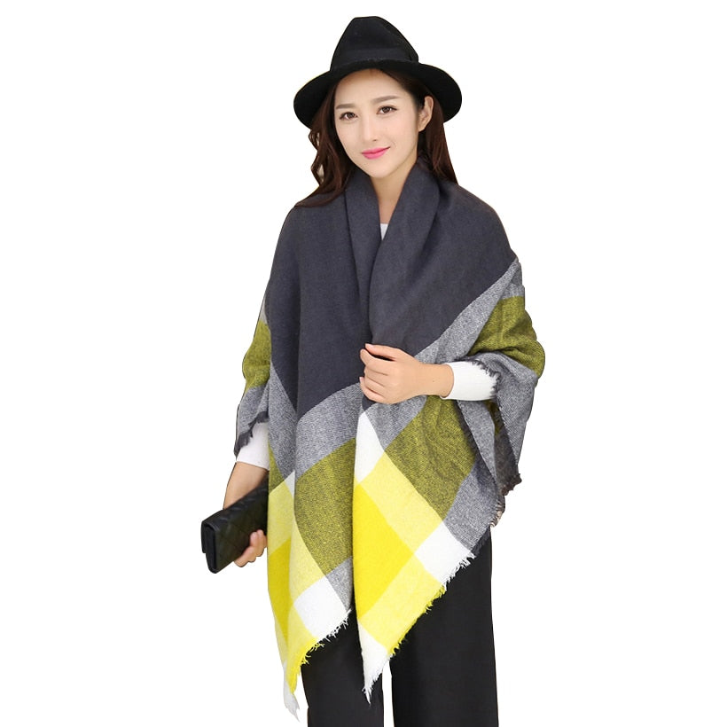 Foulard Scarf Women winter bright scarves pashmina bufandas acrylic basic female knitted fall Plaid Blanket Scarf Scarves tassel-geekbuyig