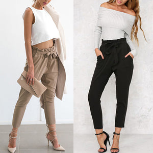 Black Friday Deals New 2017 Fashion Women Skinny High Waist Long Pants Bandage Casual Stretch Pants Slim Pencil Trousers-geekbuyig