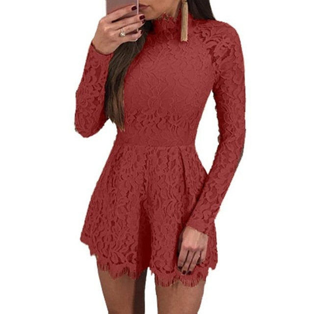 Elegant Hollow Out Lace Rompers Womens Summer Jumpsuit Sexy Ladies Casual Long Sleeve Overalls Short Playsuit WS3980V-geekbuyig