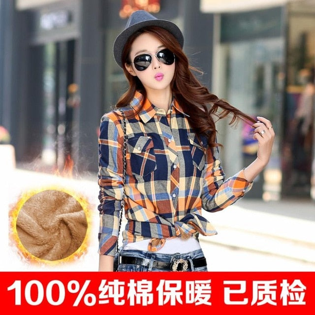 2018 warm winter coat female thick velvet shirt plaid long-sleeved shirt comfortable winter fashion cotton shirt women 20color-geekbuyig