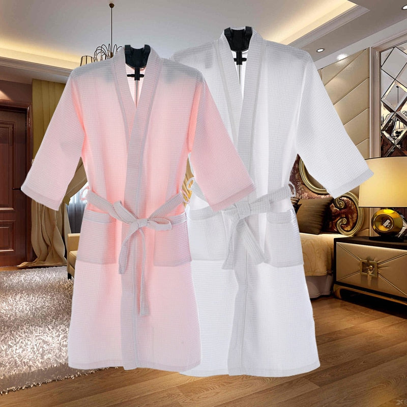 Unisex Thin Summer Kimono Fashion Robe Men Women Sexy Bathrobe Waffle Robes Soft Peignoir Homme Badjas Sleep Lounge Sleepwear-geekbuyig