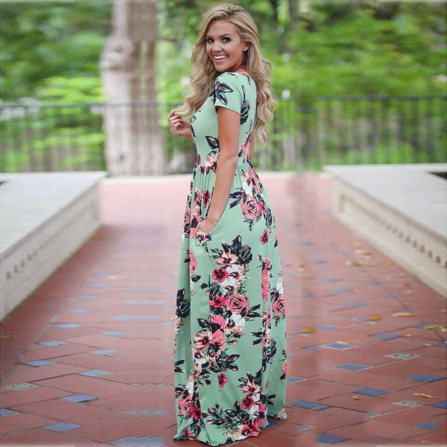 S-3XL Elegant Women Robe Summer 2018 Short Sleeve Printed Maxi Dress Fashion Sexy Boho Dress Tighten Waist Long Dress Vestidos-geekbuyig