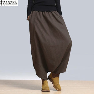 2018 Spring Fashion ZANZEA Womens Elastic High Waist Solid Harem Pants Casual Loose Baggy Pants Hip Hop Trousers NEW-geekbuyig