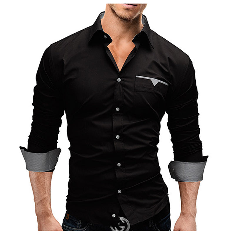 2018 Autumn Fashion Shirts Men Casual Brand Clothing Men Shirt Solid Color Long Sleeve Casual Slim Fit Male Shirts M-XXXL-geekbuyig