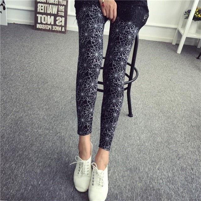 HSA Women Leggings Ninth Casual Pants Plaid Flowers Print Fitness Leggings Women Slim Leggings Cheap China Flower Leggins-geekbuyig