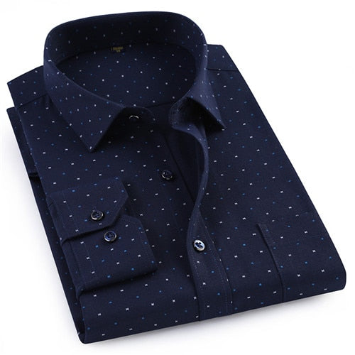 New Tencer cotton oxford fabric turndown collar long sleeve comfortable easy care regular fit print mens smart casual shirts-geekbuyig