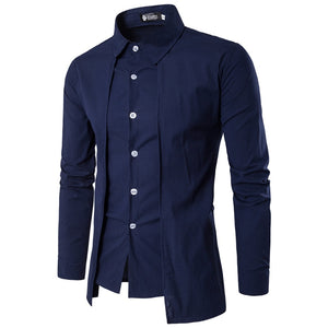 Men'S Shirts 2018 Long-Sleeved Casual Fake Two Pieces Chemise Homme Solid Arrival Dress High Quality Men'S Shirts XXL-geekbuyig
