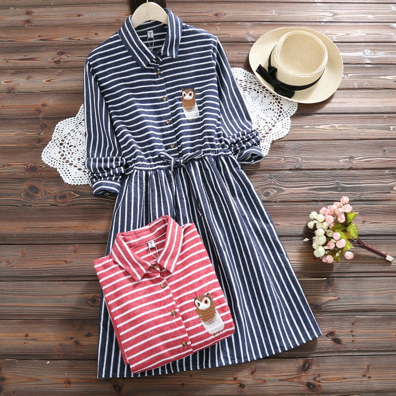 2018 Spring Autumn Women Owl embroidery Dress Casual Striped Trun-down Neck Long Sleeve Elastic Waist Dresses Dropshipping-geekbuyig