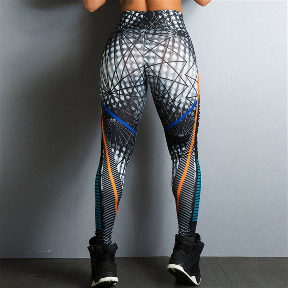 2018 Hayoha Geometric Lines Printing Leggings Put Hip Elastic High Waist Legging Breathable Slim Pants-geekbuyig