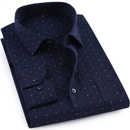 Men's Regular-fit Oxford Cotton Print Dress Shirts Patch Chest Pocket Smart Casual Long Sleeve Top Shirt For Beach Party Holiday-geekbuyig